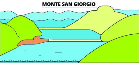 Monte San Giorgio  line travel landmark, skyline vector design. Monte San Giorgio  linear illustration.