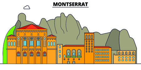 Montserrat line skyline vector illustration. Montserrat linear cityscape with famous landmarks, city sights, vector, design landscape.