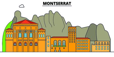 Montserrat line skyline vector illustration. Montserrat linear cityscape with famous landmarks, city sights, vector, design landscape.
