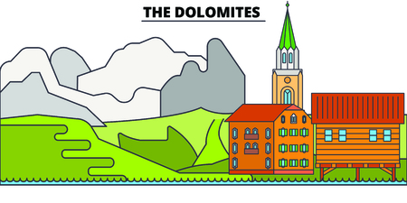 The Dolomites line travel landmark, skyline vector design. The Dolomites linear illustration.