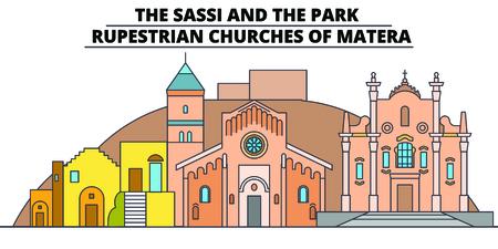 The Sassi And The Park - - Rupestrian Churches Of Matera line travel landmark, skyline vector design. The Sassi And The Park - - Rupestrian Churches Of Matera linear illustration. Illustration