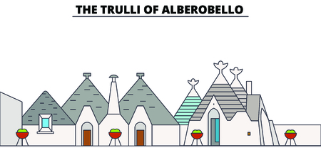 The Trulli Of Alberobello  line travel landmark, skyline vector design. The Trulli Of Alberobello  linear illustration.