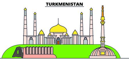 Turkmenistan line skyline vector illustration. Turkmenistan linear cityscape with famous landmarks, city sights, vector, design landscape. Standard-Bild - 127380034