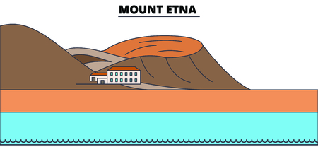 Mount Etna  line travel landmark, skyline vector design. Mount Etna  linear illustration. Ilustração