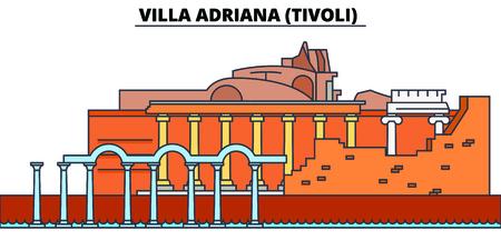 Villa Adriana, Tivoli line travel landmark, skyline vector design. Villa Adriana, Tivoli linear illustration.
