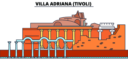 Villa Adriana, Tivoli line travel landmark, skyline vector design. Villa Adriana, Tivoli linear illustration.