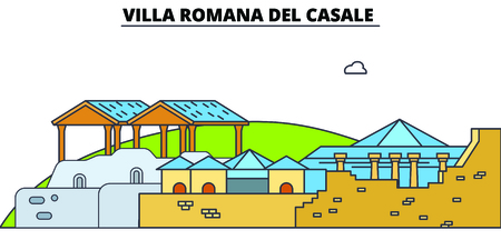 Villa Romana Del Casale  line travel landmark, skyline vector design. Villa Romana Del Casale  linear illustration. Иллюстрация