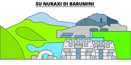 Su Nuraxi Di Barumini linea punto di riferimento di viaggio, disegno vettoriale skyline. Su Nuraxi Di Barumini illustrazione lineare.