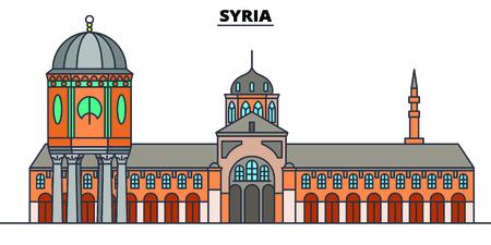 Ilustración de vector de horizonte de línea de Siria. Paisaje urbano lineal de Siria con monumentos famosos, lugares de interés de la ciudad, vector, paisaje de diseño. Ilustración de vector