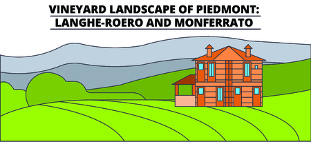 Vineyard Landscape Of Piedmont - Langhe-Roero And Monferrato  line travel landmark, skyline vector design. Vineyard Landscape Of Piedmont - Langhe-Roero And Monferrato  linear illustration. Иллюстрация