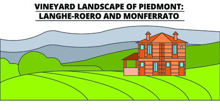 Vineyard Landscape Of Piedmont - Langhe-Roero And Monferrato  line travel landmark, skyline vector design. Vineyard Landscape Of Piedmont - Langhe-Roero And Monferrato  linear illustration. Ilustração