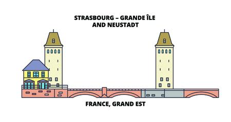France, Grand Est -Strasbourg - Grande Ile And Neustadt line travel landmark, skyline, vector design. France, Grand Est -Strasbourg - Grande Ile And Neustadt linear illustration.