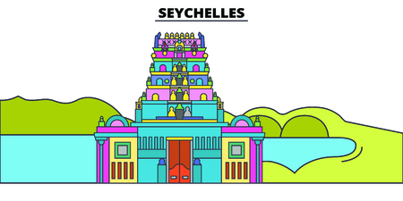 Seychelles line skyline vector illustration. Seychelles linear cityscape with famous landmarks, city sights, vector, design landscape.
