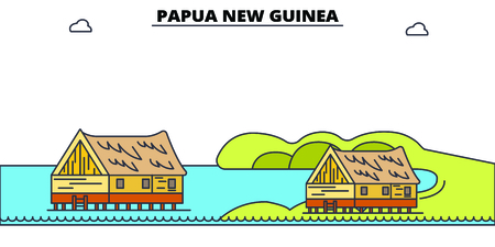Papua New Guinea line skyline vector illustration. Papua New Guinea linear cityscape with famous landmarks, city sights, vector, design landscape.