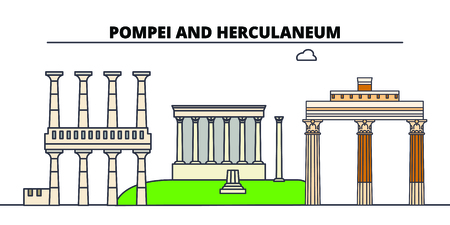 Archaeological Areas Of Pompei -Herculaneum And Torre Annunziata  line travel landmark, skyline vector design. Archaeological Areas Of Pompei -Herculaneum And Torre Annunziata  linear illustration.