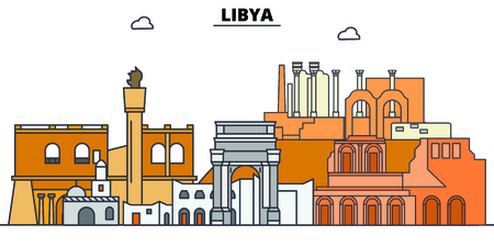 Libya line skyline vector illustration. Libya linear cityscape with famous landmarks, city sights, vector, design landscape.