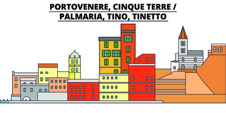 Portovenere, Cinque Terre - Palmaria, Tino, Tinetto line travel landmark, skyline vector design. Portovenere, Cinque Terre - Palmaria, Tino, Tinetto linear illustration. Çizim