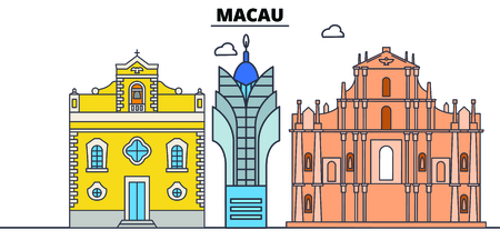 Macau line skyline vector illustration. Macau linear cityscape with famous landmarks, city sights, vector, design landscape.