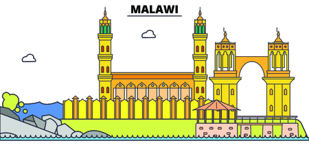 Malawi line skyline vector illustration. Malawi linear cityscape with famous landmarks, city sights, vector, design landscape.