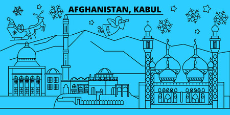 Afghanistan, Kabul winter holidays skyline. Merry Christmas, Happy New Year decorated banner with Santa Claus.Flat, outline vector.Afghanistan, Kabul linear christmas, city illustration