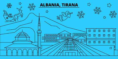 Albania, Tirana winter holidays skyline. Merry Christmas, Happy New Year decorated banner with Santa Claus.Albania, Tirana linear christmas city vector flat illustration Stock Illustratie