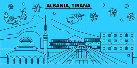 Albania, Tirana winter holidays skyline. Merry Christmas, Happy New Year decorated banner with Santa Claus.Albania, Tirana linear christmas city vector flat illustration Illustration