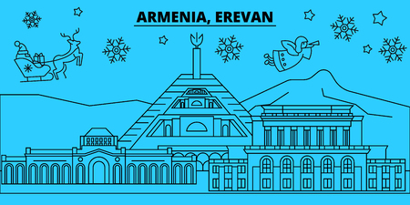 Armenia, Erevan winter holidays skyline. Merry Christmas, Happy New Year decorated banner with Santa Claus.Armenia, Erevan linear christmas city vector flat illustration Illustration