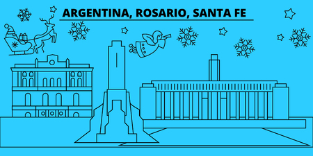 Argentina, Rosario, Santa Fe winter holidays skyline. Merry Christmas, Happy New Year decorated banner with Santa Claus.Argentina, Rosario, Santa Fe linear christmas city vector flat illustration