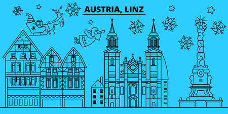 Austria, Linz winter holidays skyline. Merry Christmas, Happy New Year decorated banner with Santa Claus.Austria, Linz linear christmas city vector flat illustration