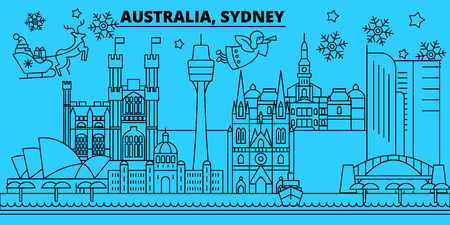 Australia, Sidney city winter holidays skyline. Merry Christmas, Happy New Year decorated banner with Santa Claus.Australia, Sidney city linear christmas city vector flat illustration