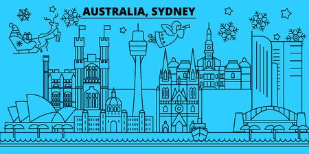 Australia, Sidney city winter holidays skyline. Merry Christmas, Happy New Year decorated banner with Santa Claus.Australia, Sidney city linear christmas city vector flat illustration