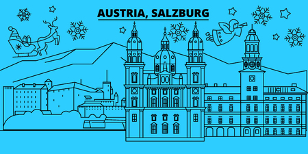 Austria, Salzburg winter holidays skyline. Merry Christmas, Happy New Year decorated banner with Santa Claus.Austria, Salzburg linear christmas city vector flat illustration  イラスト・ベクター素材