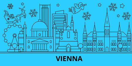 Österreich, Wien Winterurlaub Skyline. Frohe Weihnachten, Happy New Year verzierte Fahne mit Santa Claus.Austria, Wien lineare Weihnachtsstadt-Vektor-flache Illustration
