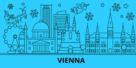Austria, Vienna winter holidays skyline. Merry Christmas, Happy New Year decorated banner with Santa Claus.Austria, Vienna linear christmas city vector flat illustration