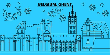 Belgium, Ghent winter holidays skyline. Merry Christmas, Happy New Year decorated banner with Santa Claus.Flat, outline vector.Belgium, Ghent linear christmas city illustration