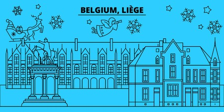 Belgium, Liege winter holidays skyline. Merry Christmas, Happy New Year decorated banner with Santa Claus.Flat, outline vector.Belgium, Liege linear christmas city illustration Illustration