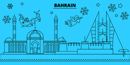 Bahrain winter holidays skyline. Merry Christmas, Happy New Year decorated banner with Santa Claus.Flat, outline vector.Bahrain linear christmas, city illustration Ilustracja
