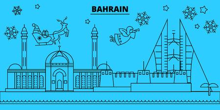 Bahrain winter holidays skyline. Merry Christmas, Happy New Year decorated banner with Santa Claus.Flat, outline vector.Bahrain linear christmas, city illustration Illustration
