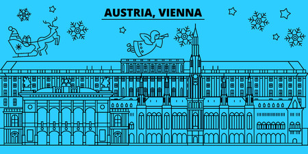 Austria, Vienna city winter holidays skyline. Merry Christmas, Happy New Year decorated banner with Santa Claus.Austria, Vienna city linear christmas city vector flat illustration