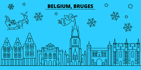 Belgium, Bruges winter holidays skyline. Merry Christmas, Happy New Year decorated banner with Santa Claus.Belgium, Bruges linear christmas city vector flat illustration
