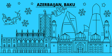 Azerbaijan, Baku winter holidays skyline. Merry Christmas, Happy New Year decorated banner with Santa Claus.Azerbaijan, Baku linear christmas city vector flat illustration