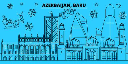 Azerbaijan, Baku winter holidays skyline. Merry Christmas, Happy New Year decorated banner with Santa Claus.Azerbaijan, Baku linear christmas city vector flat illustration