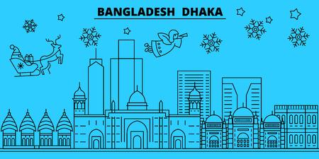 Bangladesh, Dhaka winter holidays skyline. Merry Christmas, Happy New Year decorated banner with Santa Claus.Bangladesh, Dhaka linear christmas city vector flat illustration Illustration