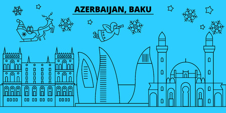 Azerbaijan, Baku city winter holidays skyline. Merry Christmas, Happy New Year decorated banner with Santa Claus.Azerbaijan, Baku city linear christmas city vector flat illustration Stock Illustratie