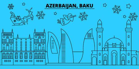 Azerbaijan, Baku city winter holidays skyline. Merry Christmas, Happy New Year decorated banner with Santa Claus.Azerbaijan, Baku city linear christmas city vector flat illustration Illustration