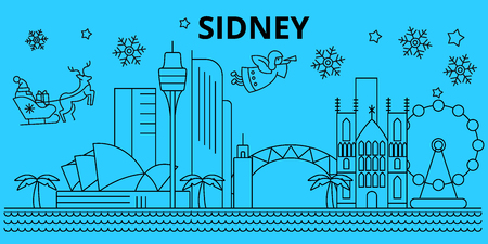 Australia, Sidney winter holidays skyline. Merry Christmas, Happy New Year decorated banner with Santa Claus.Australia, Sidney linear christmas city vector flat illustration