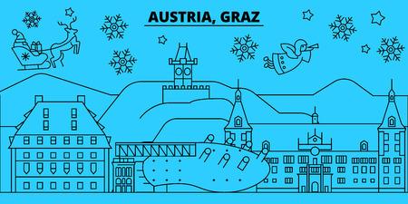 Austria, Graz winter holidays skyline. Merry Christmas, Happy New Year decorated banner with Santa Claus.Austria, Graz linear christmas city vector flat illustration Çizim