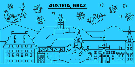 Austria, Graz winter holidays skyline. Merry Christmas, Happy New Year decorated banner with Santa Claus.Austria, Graz linear christmas city vector flat illustration Illustration