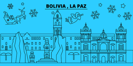 Bolivia, La Paz winter holidays skyline. Merry Christmas, Happy New Year decorated banner with Santa Claus.Flat, outline vector.Bolivia, La Paz linear christmas city illustration