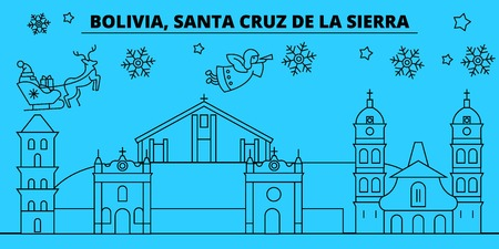 Bolivia, Santa Cruz de la Sierra winter holidays skyline. Merry Christmas, Happy New Year with Santa Claus.Outline vector.Bolivia, Santa Cruz de la Sierra linear christmas city illustration